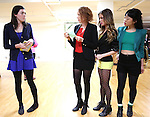 Barrett Wilbert Weed with Elle McLemore, Jessica Keenan Wynn and Alice Lee performing at the Open Press Rehearsal for 'Heathers The Musical' on February 19, 2014 at The Snapple Theatre Center in New York City.