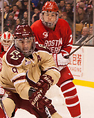 Austin Cangelosi (BC - 9), Charlie McAvoy (BU - 7) - The Boston University Terriers defeated the Boston College Eagles 3-1 in their opening Beanpot game on Monday, February 6, 2017, at TD Garden in Boston, Massachusetts.