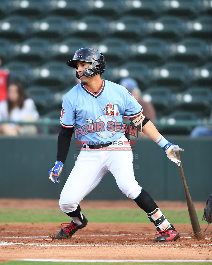 Hickory Crawdads Jonathan Ornelas (3) takes off for first base after putting the ball in play during a game with the Asheville Tourists at L.P. Frans Stadium on May 8, 2019 in Hickory, North Carolina.The Tourists defeated the Crawdads 7-6. (Tracy Proffitt/Four Seam Images)