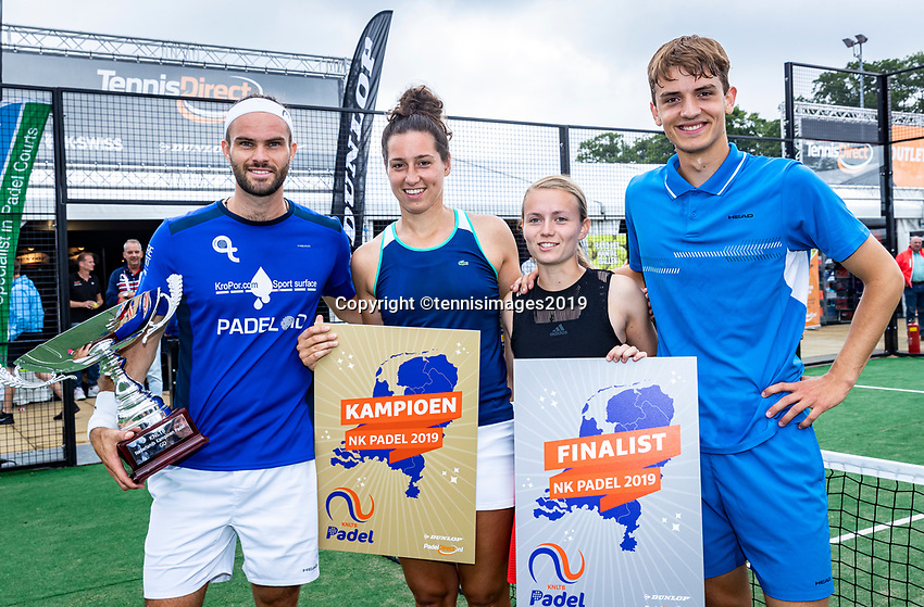 Rosmalen, Netherlands, 15 June, 2019, Tennis, Libema Open, NK Padel, Final Mixed: Rosalie van der Hoek and Uriël Maarsen (NED) winners (L) and runners up Milou Ettekhoven (NED) and Victor Rutten (NED) <br /> Photo: Henk Koster/tennisimages.com