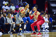 Washington, DC - May 27, 2018: Minnesota Lynx forward Maya Moore (23) makes a move against Washington Mystics guard Natasha Cloud (9) during game between the Mystics and Lynx at the Capital One Arena in Washington, DC. (Photo by Phil Peters/Media Images International)