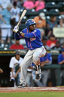 St. Lucie Mets outfielder Maikis De La Cruz (3) at bat during a game against the Bradenton Marauders on April 11, 2015 at McKechnie Field in Bradenton, Florida.  St. Lucie defeated Bradenton 3-2.  (Mike Janes/Four Seam Images)