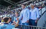 AMSTELVEEN - Laren coach Thomas Vis met Serge Spoelstra. . finale Laren JA1- HC Rotterdam JA1. Laren wint de titel Jongens A . finales A en B jeugd  Nederlands Kampioenschap.  COPYRIGHT KOEN SUYK