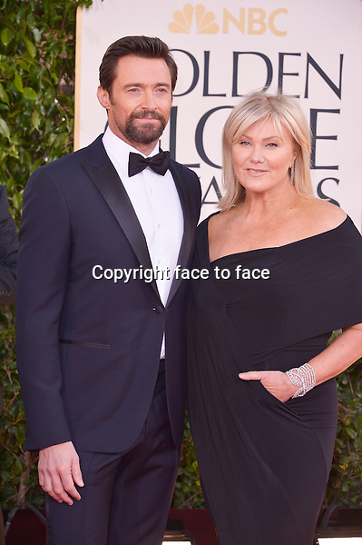 Hugh Jackman and Deborra Lee Furniss arriving at the 70th Annual Golden Globe Awards held at The Beverly Hilton Hotel on January 13, 2013 in Beverly Hills, California...credit: face to face