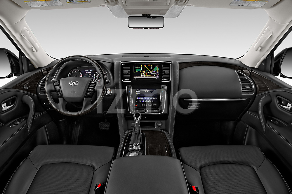 Stock photo of straight dashboard view of a 2020 Infiniti QX80 Luxe 5 Door SUV