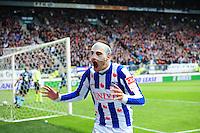 VOETBAL: HEERENVEEN: Abe Lenstra Stadion, SC Heerenveen - Feyenoord, 06-05-2012, Bas Dost (#12) scoort zijn 32e doelpunt in 34 wedstrijden en is daarmee topscorer van de Eredivisie seizoen 2011/2012, Eindstand 2-3, ©foto Martin de Jong