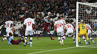 West Ham United's Issa Diop with a header towards goal<br /> <br /> Photographer Rob Newell/CameraSport<br /> <br /> The Premier League - West Ham United v Crystal Palace - Saturday 5th October 2019 - London Stadium - London<br /> <br /> World Copyright © 2019 CameraSport. All rights reserved. 43 Linden Ave. Countesthorpe. Leicester. England. LE8 5PG - Tel: +44 (0) 116 277 4147 - admin@camerasport.com - www.camerasport.com