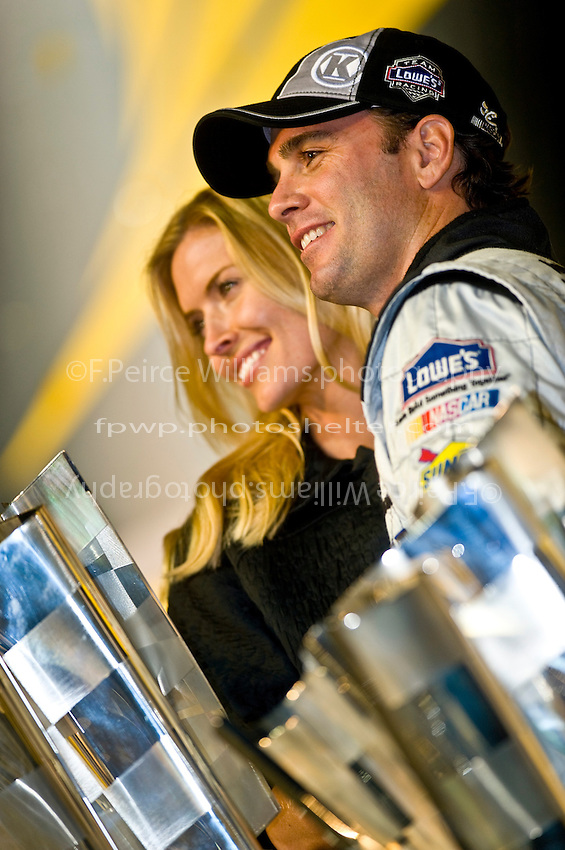 14-16 November 2008, Homestead, Florida USA.Jimmie Johnson, winner of 3 straight Sprint Cups, with wife Chandra..©F.Peirce Williams 2008.F. Peirce Williams.photography