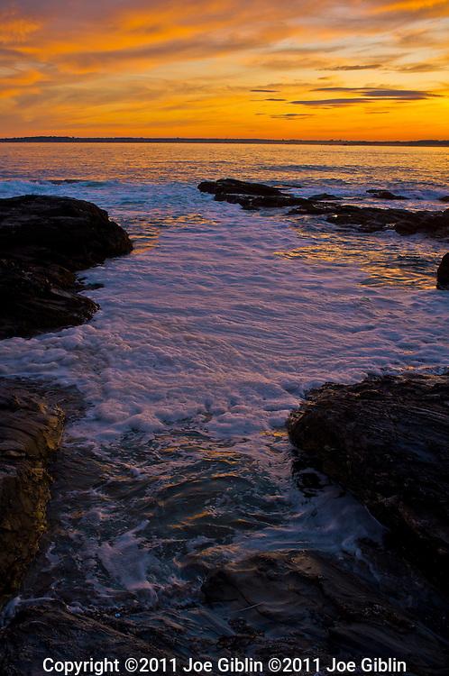 Jamestown Sunset along the rocks at Beavertail Point in Jamestown, RI.