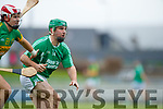Mikey Boyle Ballyduff in action against Jeremy McKenna Lixnaw in the Senior County Hurling Final in Austin Stack Park on Sunday