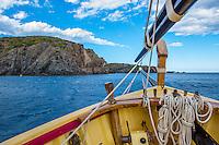 Spain, Costa Brava, Catalonia, Cadques. Views of the coastline aboard a sailboat.