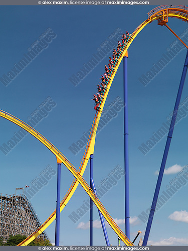 Behemoth roller coaster at Canada's Wonderland amusement park. Vaughan Ontario Canada.