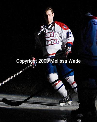 Scott Campbell (UMass-Lowell - 15) - The Northeastern University Huskies defeated the University of Massachusetts-Lowell Riverhawks 3-1 on Saturday, February 28, 2009, at the Paul E. Tsongas Arena in Lowell, Massachusetts.