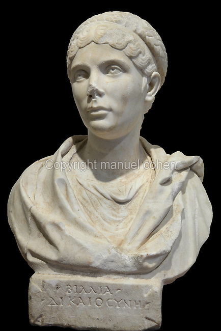 Portrait bust of Vilia with inscription, 130 BC, from the Museum Of Apollonia near the Ardenica monastery in Fier, Albania. The museum was opened in 1958 to display artefacts found at the nearby Greek Illyrian archaeological site of Apollonia. Apollonia was an ancient Greek city in Illyria, founded in 588 BC by Greek colonists from Corfu and Corinth. It flourished in the Roman period and declined from the 3rd century AD when its harbour was silted up due to an earthquake. Picture by Manuel Cohen