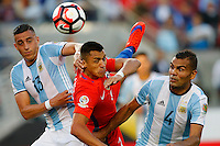 Action photo during the match Argentina vs Chile at Levis Stadium Copa America Centenario 2016. ---Foto  de accion durante el partido Argentina vs Chiler, En el Estadio de la Universidad de Phoenix, Partido Correspondiante al Grupo - D -  de la Copa America Centenario USA 2016, en la foto: (i)-(d) Ramiro Funesmori, Alexis Sanchez, Gabriel Mercado<br /> --- 06/06/2016/MEXSPORT/PHOTOSPORT/ Andres Pina