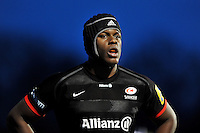 Maro Itoje of Saracens looks on during a break in play. Aviva Premiership match, between Saracens and Bath Rugby on January 30, 2016 at Allianz Park in London, England. Photo by: Patrick Khachfe / Onside Images