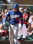 Los Angeles Dodgers&rsquo; Kike Hernandez reacts to striking out in a spring training game in Scottsdale, Ariz., on Friday, March 18, 2016. <br />Photo by Cathleen Allison