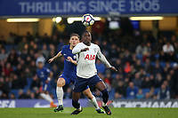 Shilow Tracey of Tottenham Hotspur in possession as Chelsea's Charlie Colkett looks on during Chelsea Under-23 vs Tottenham Hotspur Under-23, Premier League 2 Football at Stamford Bridge on 13th April 2018