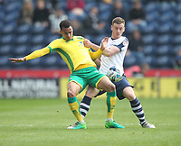 Preston North End's Marnick Vermijl battles with  Norwich City's Josh Murphy<br /> <br /> Photographer Mick Walker/CameraSport<br /> <br /> The EFL Sky Bet Championship - Preston North End v Norwich City - Monday 17th April 2017 - Deepdale - Preston<br /> <br /> World Copyright &copy; 2017 CameraSport. All rights reserved. 43 Linden Ave. Countesthorpe. Leicester. England. LE8 5PG - Tel: +44 (0) 116 277 4147 - admin@camerasport.com - www.camerasport.com