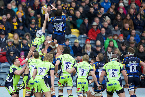 20.02.2016. Sixways Stadium, Worcester, England. Aviva Premiership. Worcester Warriors versus Sale Sharks. Worcester Warriors lock Donncha O'Callaghan wins a line out.