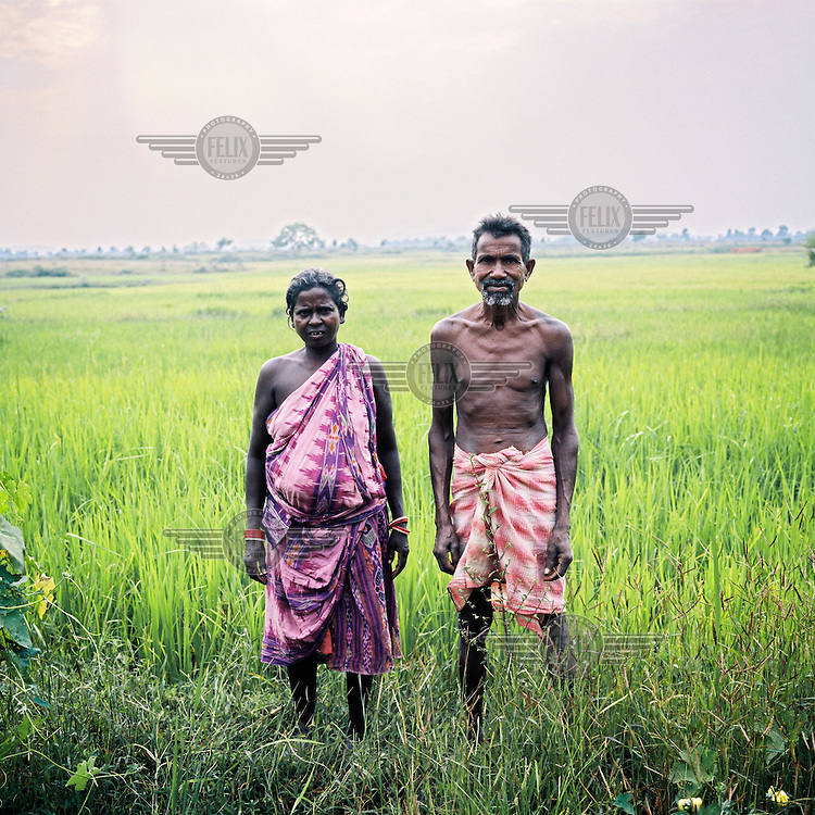 A portrait of a farming couple in Orissa state.