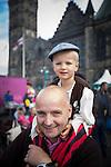 © Joel Goodman - 07973 332324 . 31 August 2013 . Rochdale , UK . Owain Booton (three) on dad Ian Booton 's shoulders (from Rochdale , both correct) . The Rochdale Feel Good Festival . Photo credit : Joel Goodman