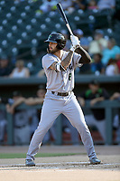 Designated hitter Francisco Tostado (8) of the Augusta GreenJackets bats in a game against the Columbia Fireflies on Saturday, June 1, 2019, at Segra Park in Columbia, South Carolina. Columbia won, 3-2. (Tom Priddy/Four Seam Images)