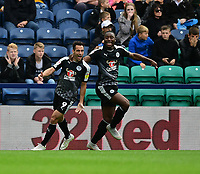Reading's Sam Baldock, left, celebrates scoring the opening goal with team-mate Yakou Meite<br /> <br /> Photographer Chris Vaughan/CameraSport<br /> <br /> The EFL Sky Bet Championship - Preston North End v Reading - Saturday 15th September 2018 - Deepdale - Preston<br /> <br /> World Copyright &copy; 2018 CameraSport. All rights reserved. 43 Linden Ave. Countesthorpe. Leicester. England. LE8 5PG - Tel: +44 (0) 116 277 4147 - admin@camerasport.com - www.camerasport.com