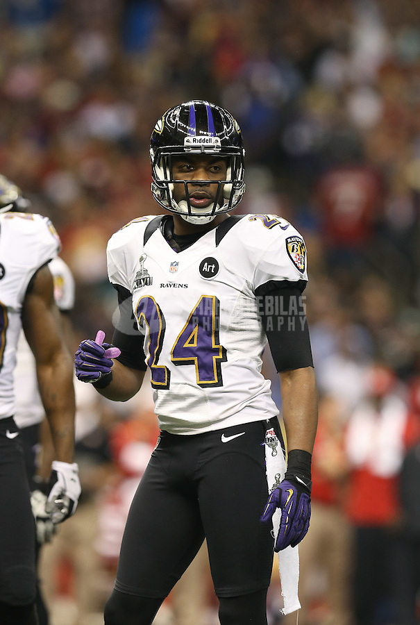 Feb 3, 2013; New Orleans, LA, USA; Baltimore Ravens cornerback Corey Graham (24) against the San Francisco 49ers in Super Bowl XLVII at the Mercedes-Benz Superdome. Mandatory Credit: Mark J. Rebilas-