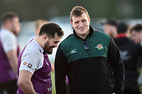 Tyler Gendall of Cornish Pirates and Jack O'Connell of Ealing Trailfinders have a chat after the match. RFU Championship Cup match, between Ealing Trailfinders and Cornish Pirates on February 24, 2019 at the Trailfinders Sports Ground in London, England. Photo by: Patrick Khachfe / Onside Images