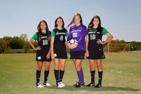 Denton, TX - AUGUST 3: University of North Texas women' soccer Marissa Pantoja, Leah Cox, Jackie Kerestine and Alyson Stallcup at University of North Texas Athletic Center Complex in Denton on August 3, 2012 in Denton, Texas. (Photo by Rick Yeatts)