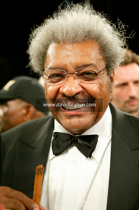 7 January 2006 - New York City, NY - Promoter Don King poses at the end of the World Cruiserweight Championship unification fight at Madison Square Garden in New York City, USA, 7 January 2006. The fight was won by KO in the 10th round by Jamaican O'Neill Bell over Frenchman Jean-Marc Mormeck.