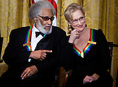 Musician Sonny Rollins (L) and actress Meryl Streep talk during a Kennedy Center Honors reception in the East Room of the White House, Sunday, December 4, 2011 in Washington, DC.  For their accomplishments and contributions to the arts actress Meryl Streep, singer Neil Diamond, actress Barbara Cook, musician Yo-Yo Ma, and musician Sonny Rollins where etched recognized as this year's recipients of the Kennedy Center Honors..Credit: Brendan Smialowski / Pool via CNP