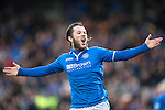 St Johnstone v Dundee United.....29.12.13   SPFL<br /> Stevie May celebrates his second goal<br /> Picture by Graeme Hart.<br /> Copyright Perthshire Picture Agency<br /> Tel: 01738 623350  Mobile: 07990 594431