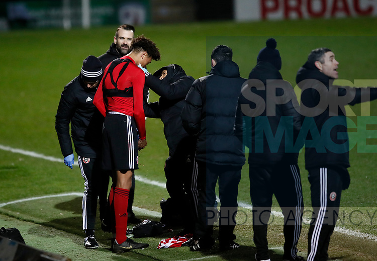Daniel Jebbison of Sheffield Utd receives treatment for a bleed during the Professional Development League  match at the Proact Stadium, Chesterfield. Picture date: 3rd February 2020. Picture credit should read: Simon Bellis/Sportimage