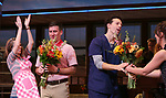 Caitlin Houlahan, David Josefsberg, Jason Mraz and Sara Bareilles take a bow at the curtain call of Broadway's 'Waitress' at The Brooks Atkinson Theatre on November 3, 2017 in New York City.