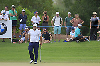 Patrick Reed (USA) on the 15th green during the 3rd round of the DP World Tour Championship, Jumeirah Golf Estates, Dubai, United Arab Emirates. 17/11/2018<br /> Picture: Golffile | Fran Caffrey<br /> <br /> <br /> All photo usage must carry mandatory copyright credit (&copy; Golffile | Fran Caffrey)