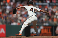 SAN FRANCISCO, CA - JULY 9:  Sam Dyson #49 of the San Francisco Giants pitches against the Miami Marlins during the game at AT&T Park on Sunday, July 9, 2017 in San Francisco, California. (Photo by Brad Mangin)