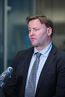 Espen Rostrup Nakstad, the assistant director of Norway's Directorate of Health talking to reporters. <br /> <br /> Press conference with Prime Minister Erna Solberg, Minister of Health Bent Høie to present the Corona commission, led by Stener Kvinnsland. <br /> <br /> <br /> Norwegian authorites introduced strict measures to combat the Coronavirus (COVID-19) in March 2020. <br /> <br /> <br /> ©Fredrik Naumann/Felix Features<br /> <br /> <br /> Pressekonferanse om koronakrisen og den nyoppnevnte Koronakommisjonen<br /> Statsminister Erna Solberg og helse- og omsorgsminister Bent Høie inviterer til pressekonferanse sammen med lederen for den nyoppnevnte Koronakommisjonen, Stener Kvinnsland.