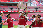 Olivier Giroud of Arsenal lifts the Shield after the The FA Community Shield match at Wembley Stadium, London. Picture date 6th August 2017. Picture credit should read: Charlie Forgham-Bailey/Sportimage