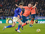 Harvey Barnes of Leicester City is challenged by Michael Keane of Everton during the Premier League match at the King Power Stadium, Leicester. Picture date: 1st December 2019. Picture credit should read: Darren Staples/Sportimage