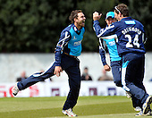 Scottish Saltires V Surrey Lions - Clydesdale Bank 40 - at Grange CC (Edinburgh) - Saltires Preston Mommsen celebrates a wicket (caught and bowled De Bruyn for 16) with his captain Gordon Drummond - Picture by Donald MacLeod  06.5.12  07702 319 738  clanmacleod@btinternet.com