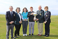 (L to R) Kevin McCarthy Captain Tralee GC, Frances Hock Munster District ILGU Clodagh Walsh (MU) Ladies Winner Ronan Mullarney (MU) winner John McLoughney President GUI and Margaret O'Shea Lady Captain Tralee GC at the final of the Irish Students Amateur Open Championship, Tralee Golf Club, Tralee, Co Kerry, Ireland. 12/04/2018.<br />