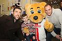 Jon Ashton, Borobear and David Gray<br /> Stevenage FC players visit Lister Hospital Children's ward.  <br />  - Lister Hospital, Stevenage - 18th December, 2013<br />  &copy; Kevin Coleman 2013