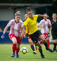 Danielle Maloney of Stevenage Ladies & Natalie Murray of Watford Ladies during the pre season friendly match between Stevenage Ladies FC and Watford Ladies at The County Ground, Letchworth Garden City, England on 16 July 2017. Photo by Andy Rowland / PRiME Media Images.