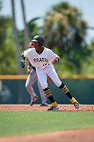 GCL Pirates Angel Basabe (16) leads off during a Gulf Coast League game against the GCL Braves on July 30, 2019 at Pirate City in Bradenton, Florida.  GCL Braves defeated the GCL Pirates 10-4.  (Mike Janes/Four Seam Images)