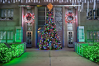 This was a lovely Christmas Tree outside of the County Courthouse in Burnett, Texas.  The town square was made up of white christmas lights wrapped on the trees with what appearded to be dripping lights along with a manger scene and other holiday decorations.