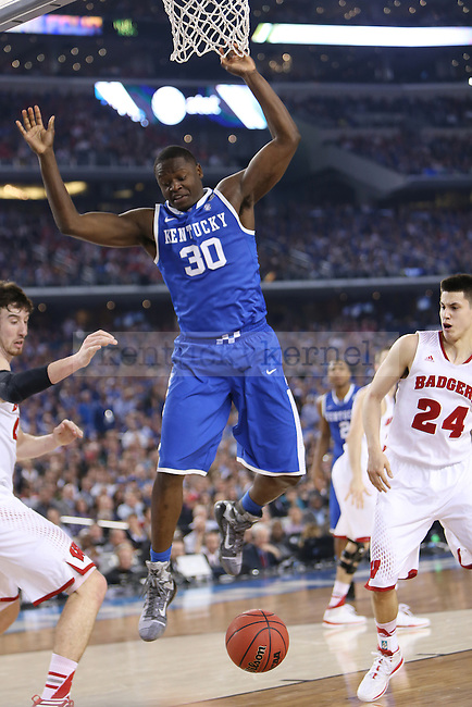 Kentucky Wildcats forward Julius Randle (30) fights for the ball during the NCAA Final Four vs. Wisconsin at the AT&T in Arlington, Tx., on Saturday, April 5, 2014. Photo by Emily Wuetcher | Staff