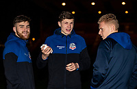 Bolton Wanderers' (l-r): Sonny Graham, Adam Senior and James Weir pictured before the match <br /> <br /> Photographer Andrew Kearns/CameraSport<br /> <br /> The EFL Sky Bet League One - Lincoln City v Bolton Wanderers - Tuesday 14th January 2020  - LNER Stadium - Lincoln<br /> <br /> World Copyright © 2020 CameraSport. All rights reserved. 43 Linden Ave. Countesthorpe. Leicester. England. LE8 5PG - Tel: +44 (0) 116 277 4147 - admin@camerasport.com - www.camerasport.com