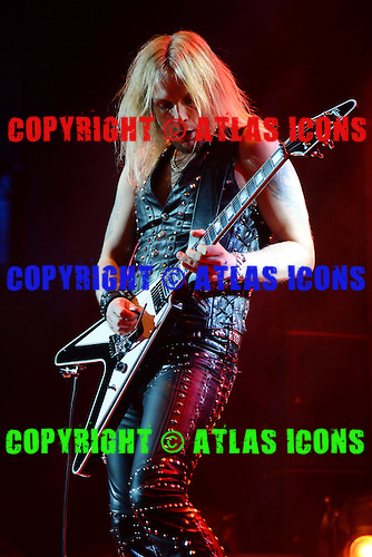 HOLLYWOOD FL - OCTOBER 30 : Richie Faulkner of Judas Priest performs at Hard Rock Live held at the Seminole Hard Rock Hotel & Casino on October 30, 2014 in Hollywood, Florida. : Credit Larry Marano (C) 2014